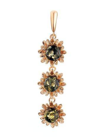Green Amber Pendant In Gold-Plated Silver The Aster, image