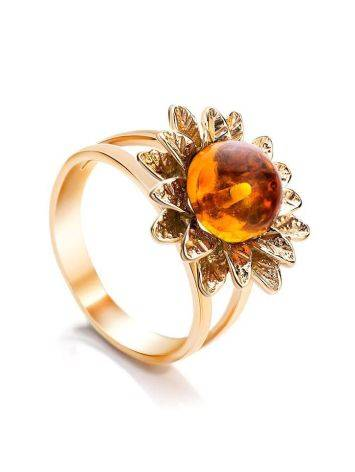 Gold-Plated Ring With Cognac Amber The Aster, Ring Size: 11.5 / 21, image