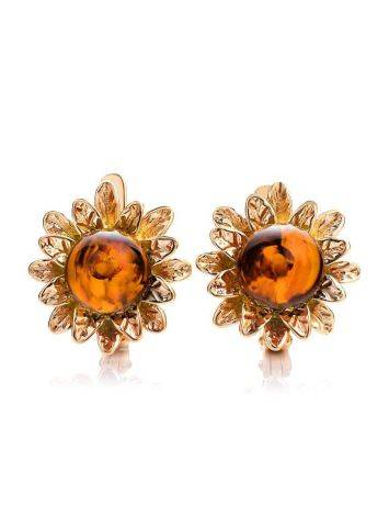 Cognac Amber Earrings In Gold-Plated Silver The Aster, image