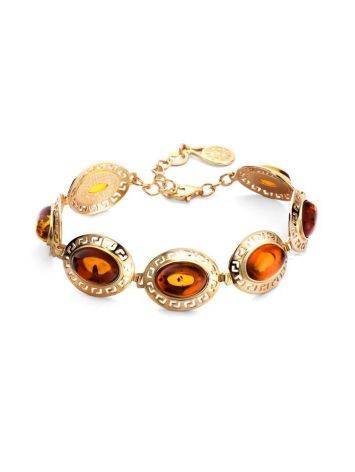 Link Amber Bracelet In Gold Plated Silver The Ellas, image