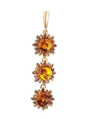 Amber Dangle Pendant In Gold-Plated Silver The Aster, image