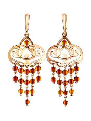 Cherry Amber Chandelier Earrings In Gold-Plated Silver The Siesta, image