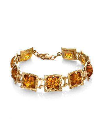 Geometric Amber Bracelet In Gold Plated Silver The Hermitage, image