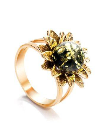 Green Amber Ring In Gold-Plated Silver The Aster, Ring Size: 11 / 20.5, image