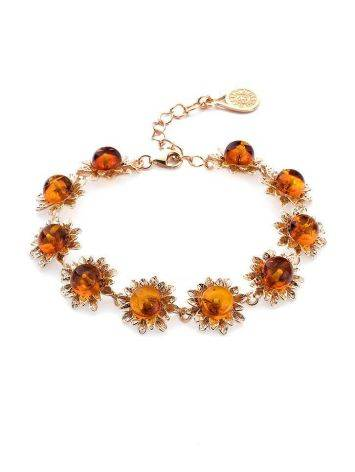 Link Amber Bracelet In Gold Plated Silver The Aster, image