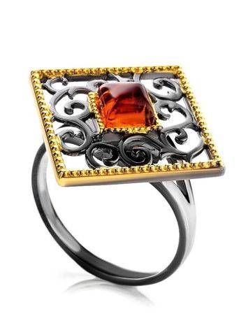 Gold-Plated Ring With Cognac Amber The Arabesque, Ring Size: 10 / 20, image