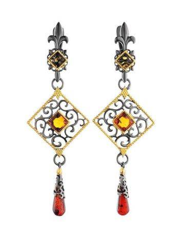 Gold-Plated Dangles With Multicolor Amber The Arabesque, image