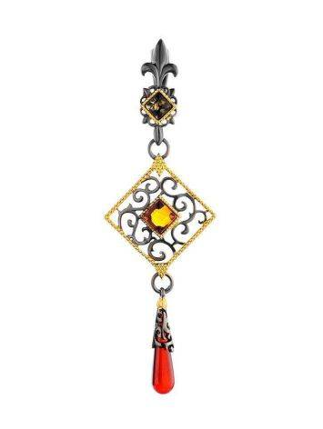 Dangle Amber Pendant In Gold-Plated Silver The Arabesque, image
