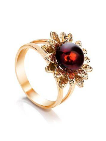 Gold-Plated Ring With Bright Cherry Amber The Aster, Ring Size: 5.5 / 16, image
