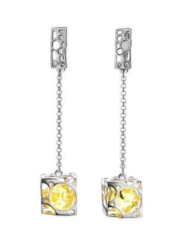 Lemon Amber Earrings In Sterling Silver The Geneva, image