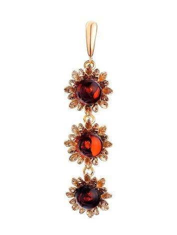 Gold-Plated Pendant With Cherry Amber The Aster, image