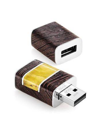 16 Gb Wenge Wood Flash Drive With Honey Amber The Indonesia, image