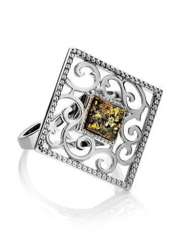 Cocktail Silver Ring With Green Amber The Arabesque, Ring Size: 11 / 20.5, image