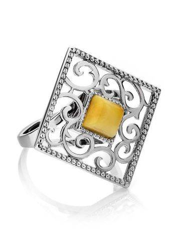 Cocktail Ring With Honey Amber In Sterling Silver The Arabesque, Ring Size: 5.5 / 16, image