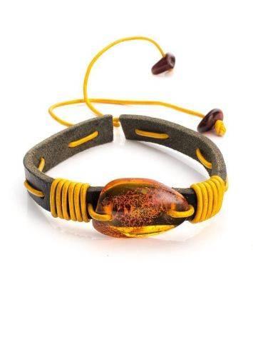 Brown Leather Tie Bracelet With Cognac Amber The Copacabana, image