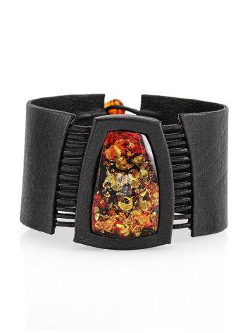Dark Leather Bracelet With Green Amber The Amazon, image