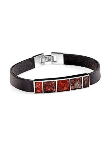 Leather Bracelet With Cherry Amber The London, image