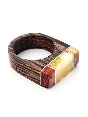 Handcrafted Wenge Wood Ring With Honey Amber The Indonesia, Ring Size: 7 / 17.5, image