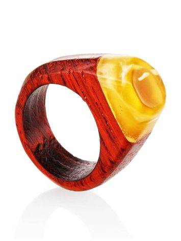 Handcrafted Padauk Wood Ring With Honey Amber The Indonesia, Ring Size: 7 / 17.5, image