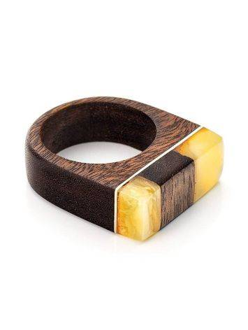 Handcrafted Brazilwood Ring With Honey Amber The Indonesia, Ring Size: 7 / 17.5, image