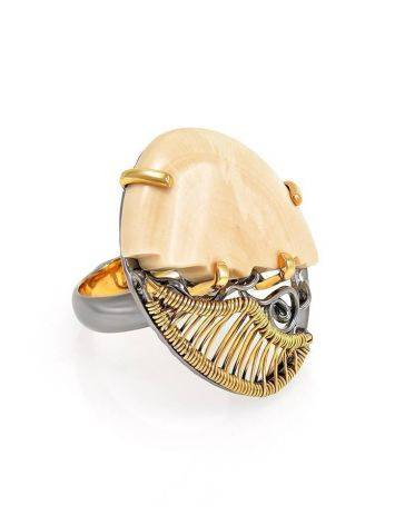 Exquisite Mammoth Tusk Ring In Gold-Plated Silver The Era, Ring Size: Adjustable, image