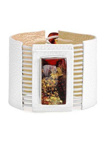 White Leather Bracelet With Square Cut Cognac Amber The Amazon, image