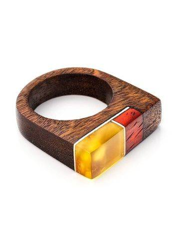 Multicolor Wooden Ring With Butterscotch Amber The Indonesia, Ring Size: 8.5 / 18.5, image