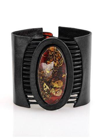Black Leather Bracelet With Green Amber The Amazon, image