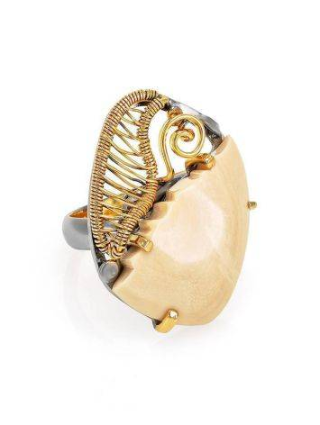 Adjustable Mammoth Tusk Ring In Gold-Plated Silver The Era, Ring Size: Adjustable, image