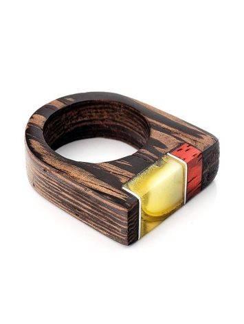 Handmade Honey Amber Ring With Padauk Wood The Indonesia, Ring Size: 7 / 17.5, image