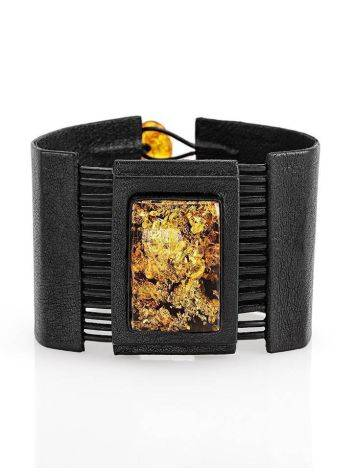 Dark Leather Handcrafted Bracelet With Green Amber The Amazon, image