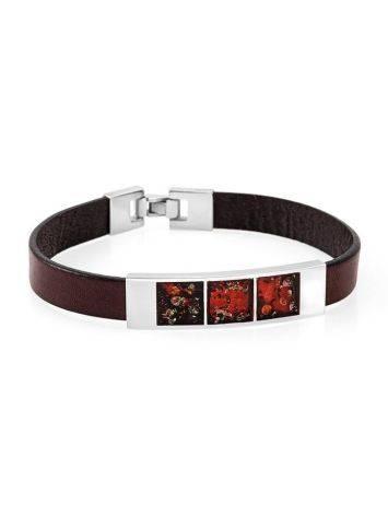 Stylish Leather Bracelet With Cherry Amber The London, image