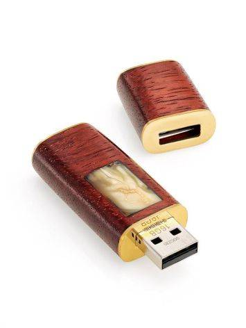 16 Gb Handcrafted Flash Drive With Amber And Padauk Wood The Indonesia, image