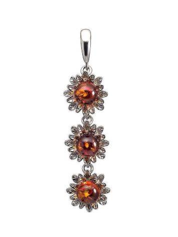 Long Amber Pendant In Sterling Silver The Aster, image
