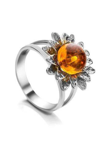 Bold Silver Ring With Cognac Amber The Aster, Ring Size: 9.5 / 19.5, image