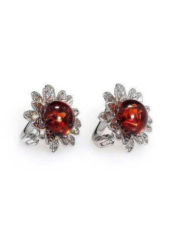 Cherry Amber Earrings In Sterling Silver The Aster, image