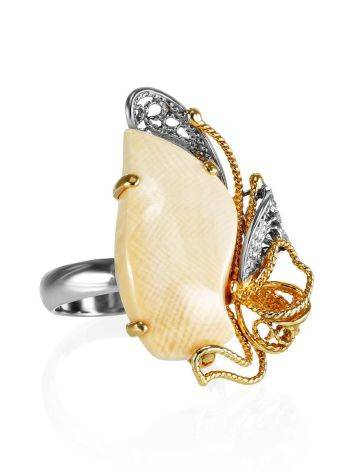 Adjustable Gold-Plated Ring With Mammoth Tusk The Era, Ring Size: Adjustable, image