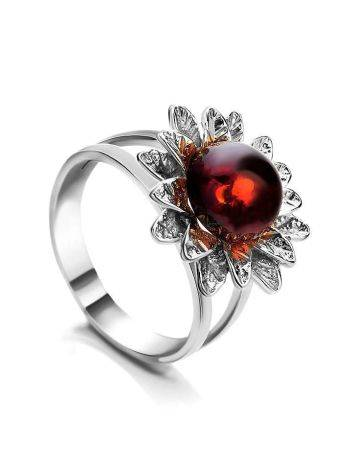 Sterling Silver Ring With Cherry Amber The Aster, Ring Size: 9.5 / 19.5, image