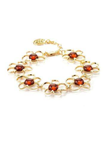 Link Amber Bracelet In Gold Plated Silver The Daisy, image
