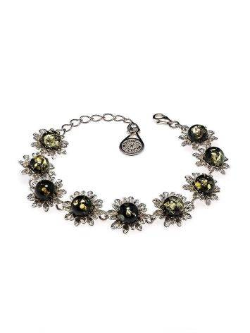 Green Amber Bracelet In Sterling Silver The Aster, image