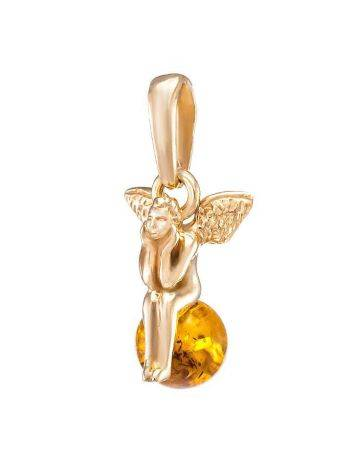Cognac Amber Pendant In Gold-Plated Silver The Angel, image