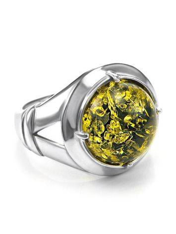 Bold Green Amber Men's Ring In Sterling Silver The Cesar, Ring Size: 8 / 18, image