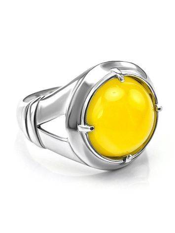 Bright Honey Amber Men's Ring In Sterling Silver The Cesar, Ring Size: 8 / 18, image