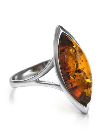 Sterling Silver Ring With Cognac Amber The Amaranth, Ring Size: 5.5 / 16, image