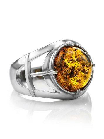 Stunning Silver Men's Ring With Cognac Amber The Cesar, Ring Size: 8 / 18, image