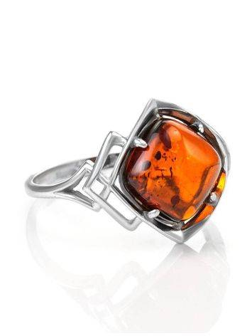 Stylish Silver Ring With Cognac Amber The Astoria, Ring Size: 11.5 / 21, image