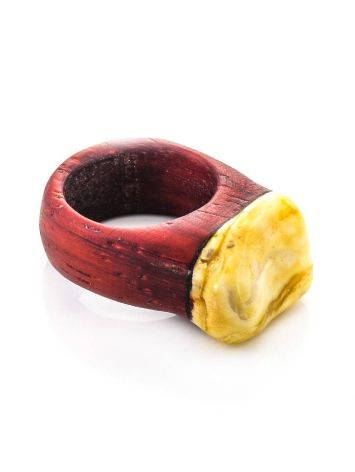 Padauk Wood Ring With White Amber The Indonesia, Ring Size: 11 / 20.5, image