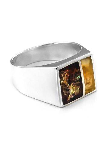 Sterling Silver Signet Ring With Multicolor Amber The London, Ring Size: / 22.5, image
