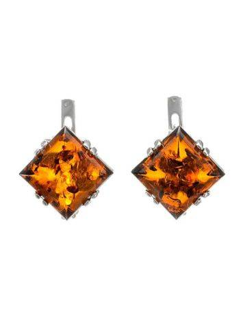 Geometric Silver Earrings With Cognac Amber The Astoria, image