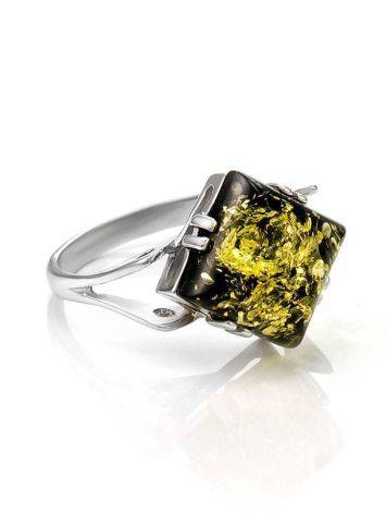 Square Cut Amber Ring In Sterling Silver The Astoria, Ring Size: 13 / 22, image